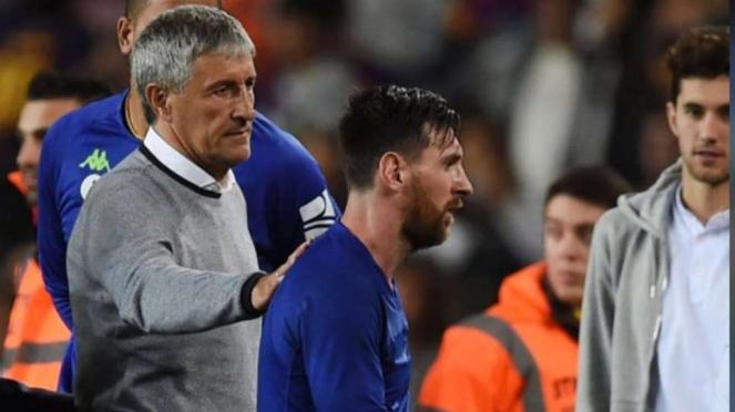 Quique Setien bersama Lionel Messi
