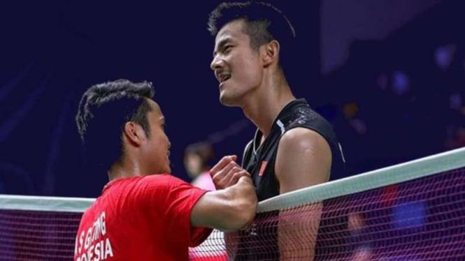 Chen Long dan Anthony Sinisuka Ginting.