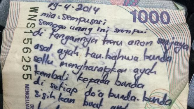 Pesan di uang Rp1.000.