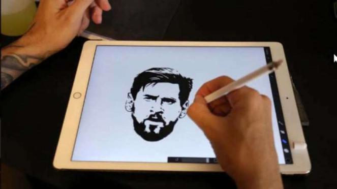 Gambar wajah Lionel Messi