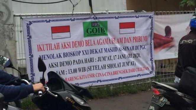 Spanduk Penolakan Bioskop di PGC, Cililitan, Jakarta Timur.