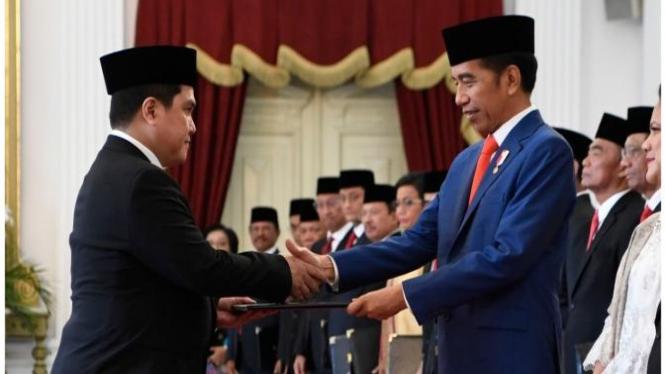 Presiden Jokowi dan Menteri BUMN Erick Thohir.