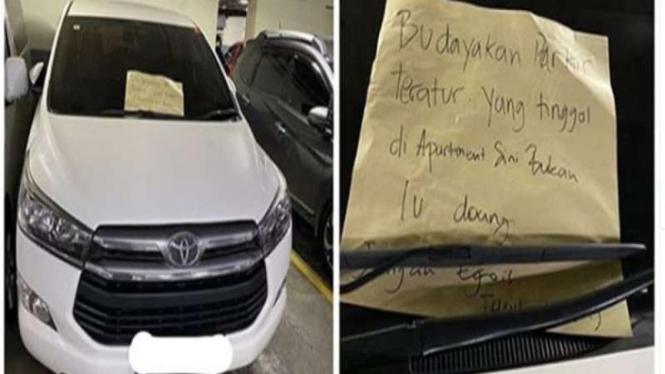 Mobil parkir sembarangan dapat surat peringatan