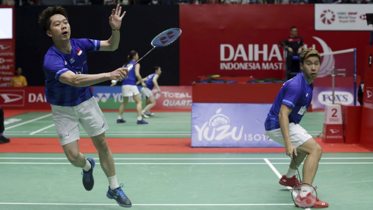 Ganda Putra Indonesia Kevin/Markus saat menghadapi wakil Malaysia Goh Sze Fei/Nur Izzudin dalam gelaran Indonesia Masters 2020 di Senayan, Jakarta, Jumat 17 Januari 2020.