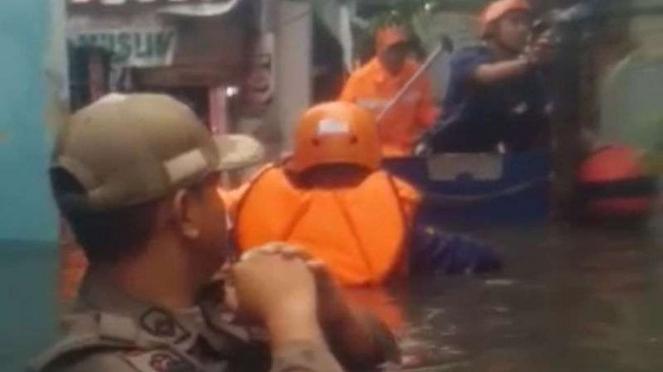 Banjir di Kebon Jeruk, Jakarta Barat, Sabtu, 18 Januari 2020.