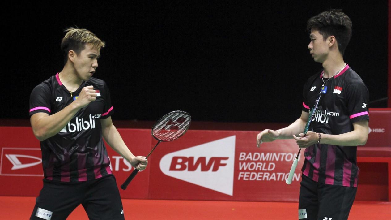 Ganda Putra Indonesia Kevin/Markus saat menghadapi Aaron Chia/Soh Wooi Yik dalam gelaran Indonesia Masters 2020 di Jakarta, Sabtu 18 Januari 2020.