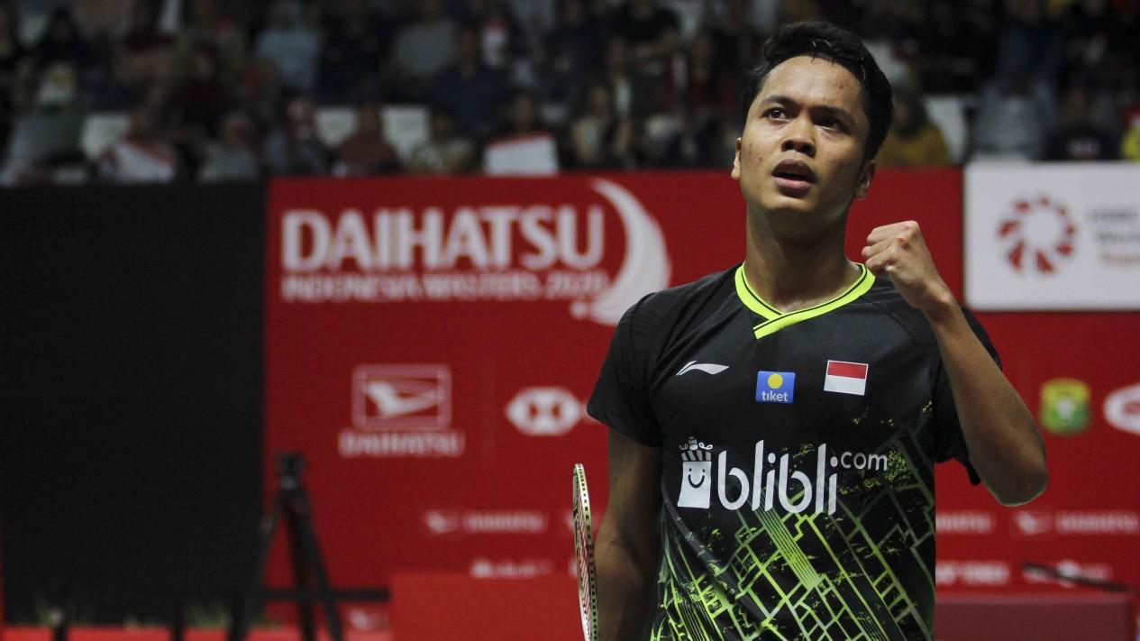 Tunggal Putra Indonesia, Anthony Sinisuka Ginting saat menghadapi Antonsen dalam final Indonesia Masters 2020 di Jakarta, Minggu 19 Januari 2020.