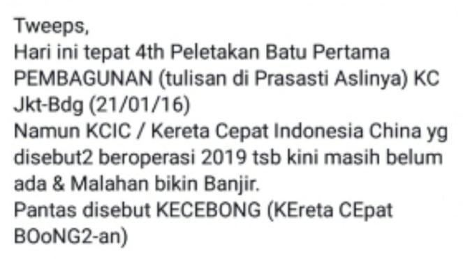 Cuitan Roy Suryo soal kereta cepat Jakarta-Bandung