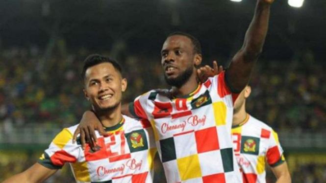 Pemain Kedah FA rayakan gol.
