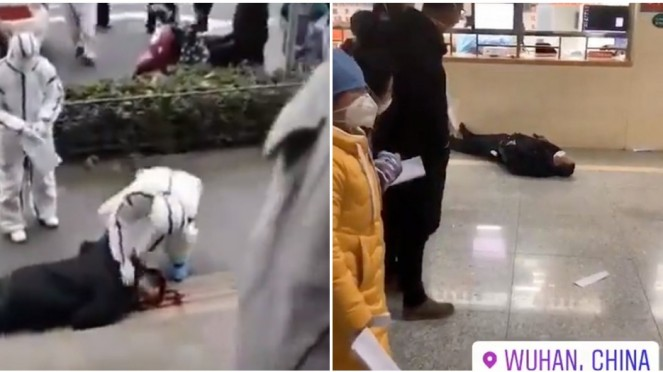 Warga Wuhan berjatuhan di jalan akibat virus corona.