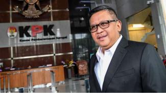 Sekjen PDIP Hasto Kristiyanto usai menjalani pemeriksaan di KPK.