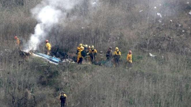 Bangkai helikopter yang ditumpangi mendiang Kobe Bryant