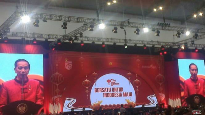 Presiden Jokowi berpidato di Perayaan Imlek Nasional 2020