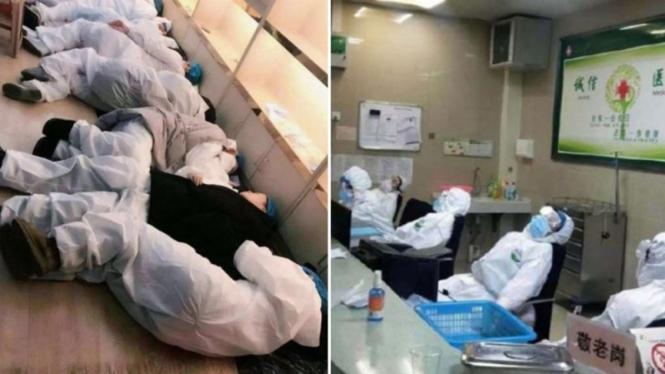 Para staf medis di China kelelahan menangani pasien virus corona
