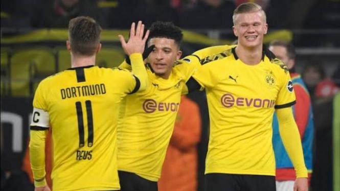 Dua bintang Borussia Dortmund, Jadon Sancho dan Erling Braut Haaland