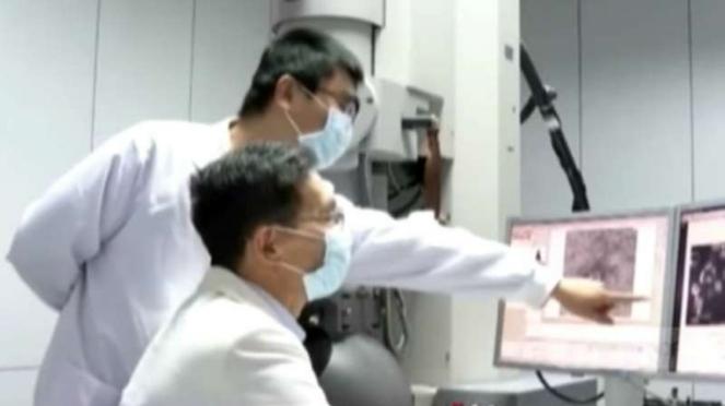 Tim ahli China mengamati melalui layar komputer satu sampel virus corona