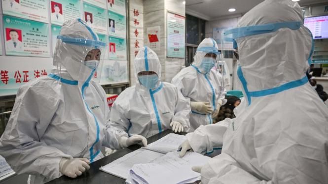 Petugas kesehatan memeriksa data pasien terjangkit Virus Corona.