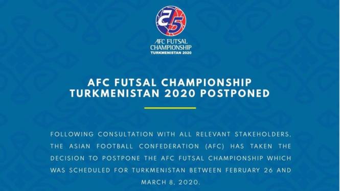 Pengumuman resmi AFC menunda gelaran Piala Asia Futsal 2020