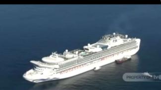 Kapal pesiar Diamond Princes dilarang bersandar untuk sementara di dekat Yokohama, Jepang, setelah sepuluh orang dari ribuan penumpangnya dilaporkan positif terinfeksi virus corona.