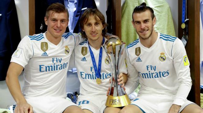 Trio bintang Real Madrid, Toni Kroos, Luka Modric dan Gareth Bale.