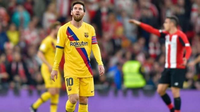 Ekspresi kecewa Lionel Messi Barcelona usai kalah dari Athletic Bilbao