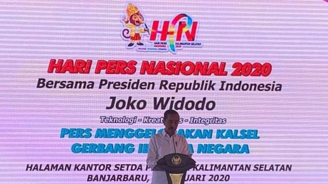 Presiden Jokowi menghadiri perayaan Hari Pers Nasional di Banjarbaru, Kalsel