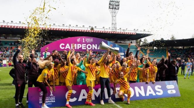 Tim sepakbola wanita Barcelona juara Piala Super Spanyol