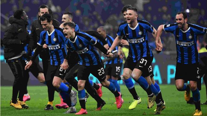 Selebrasi skuad Inter Milan
