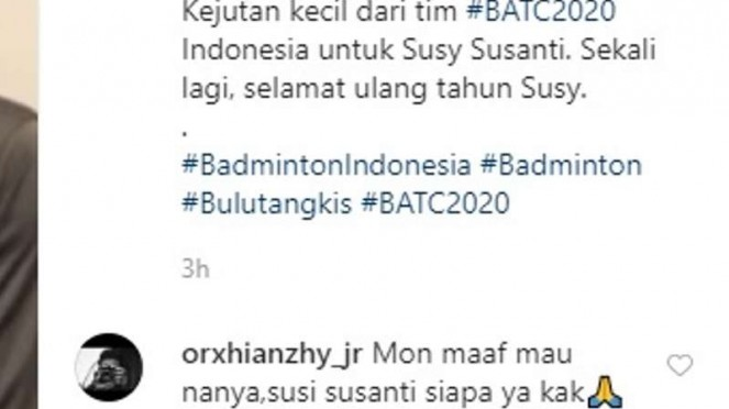 Komentar netizen soal Susy Susanti.