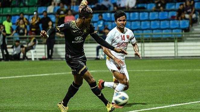 Pemain Tampines Rovers, Jordan Webb saat melawan PSM Makassar