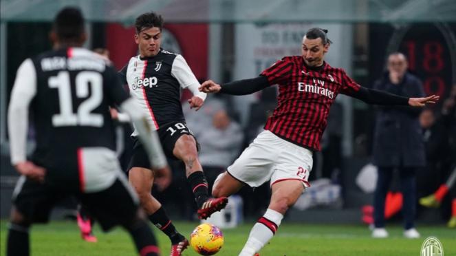 Pertandingan AC Milan vs Juventus di semifinal Coppa Italia 2019/20.