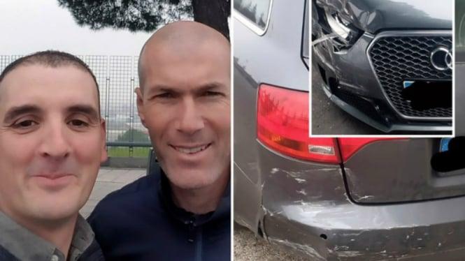 Zinedine Zidane diminta foto bareng oleh pengendara mobil yang ditabraknya