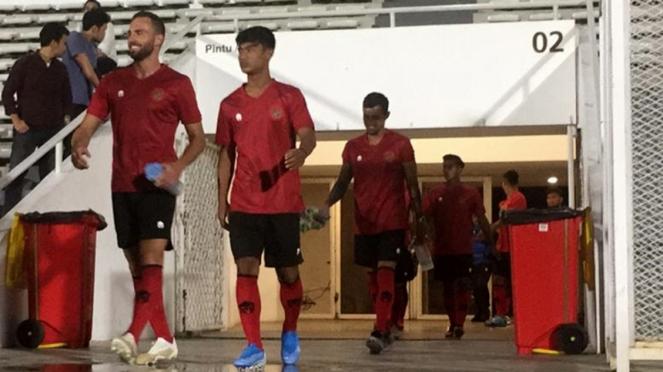 Timnas Indonesia menjalani latihan di Stadion Madya, Gelora Bung Karno