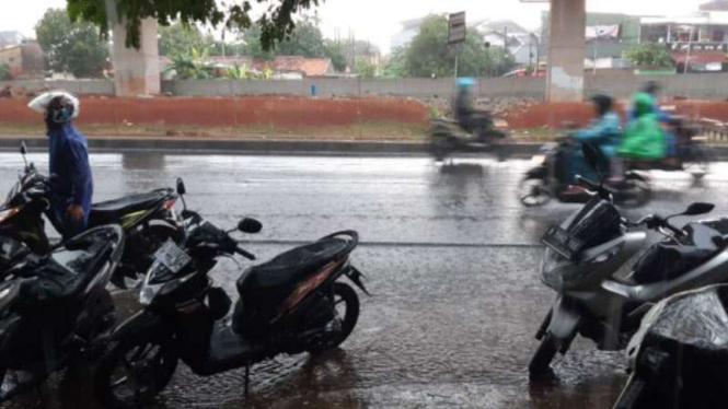 Ilustrasi hujan deras mengguyur sebagian wilayah DKI Jakarta