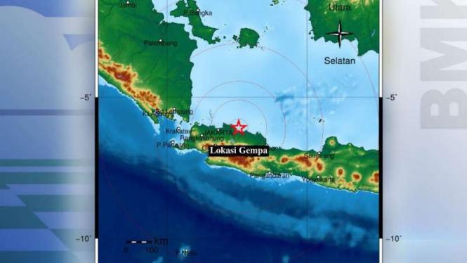 Peta lokasi gempa Cikampek Karawang.