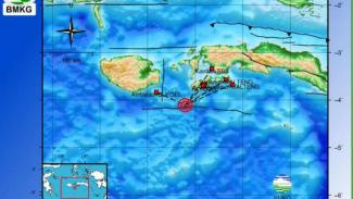 Peta lokasi gempa Maluku.