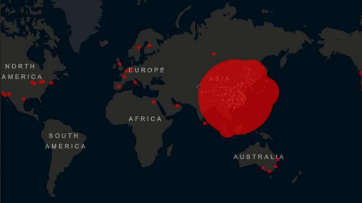 Peta sebaran virus corona atau COVID-19.