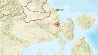 Peta pusat gempa darat Kendari.