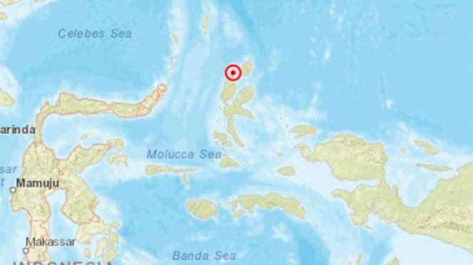 Peta pusat gempa darat Halmahera.