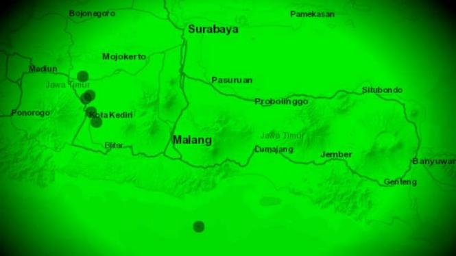 Peta lokasi gempa Jawa Timur.