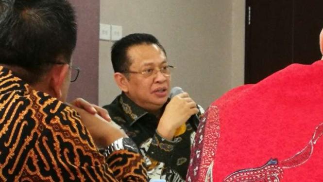 Ketua MPR RI 2019-2024, Bambang Soesatyo saat mengunjungi redaksi tvOne.