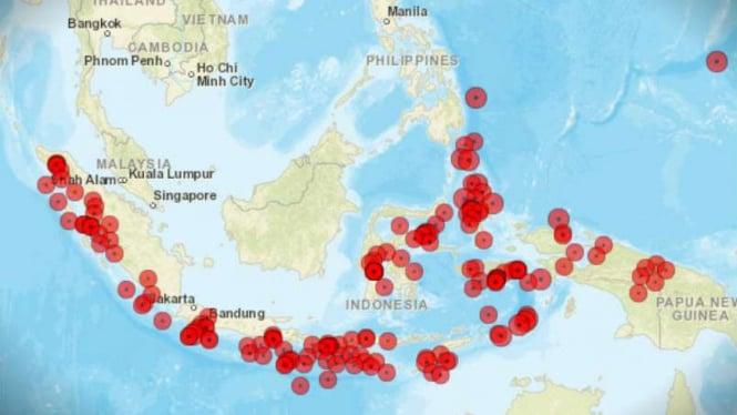 Peta lokasi gempa di Indonesia.