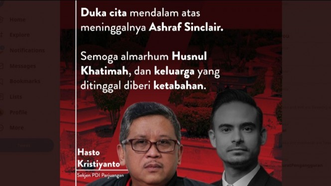 Postingan duka cita Hasto Kristiyanto