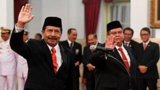Kepala BPIP, Yudian Wahyudi (kiri) dan Kepala BPKP Muhammad Yusuf Ateh (kanan).