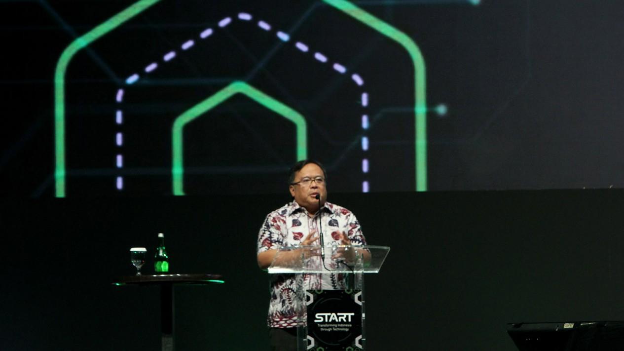 Menteri Riset dan Teknologi RI sekaligus Kepala Badan Riset dan Inovasi Nasional Bambang P. S. Brodjonegoro, pada gelaran Tokopedia START Summit di The Kasablanka Hall Jakarta,  Sabtu 22 Februari 2020.