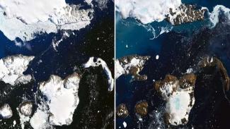 Foto yang memperlihatkan es di Antartika mencair