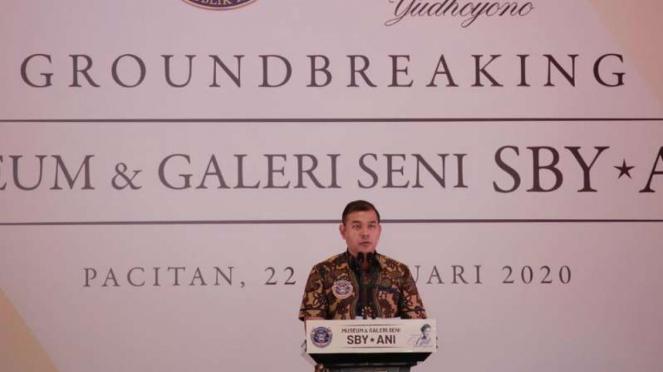 Peletakan batu pertama Museum dan Galeri Seni SBY-ANI di Kabupaten Pacitan, Jawa