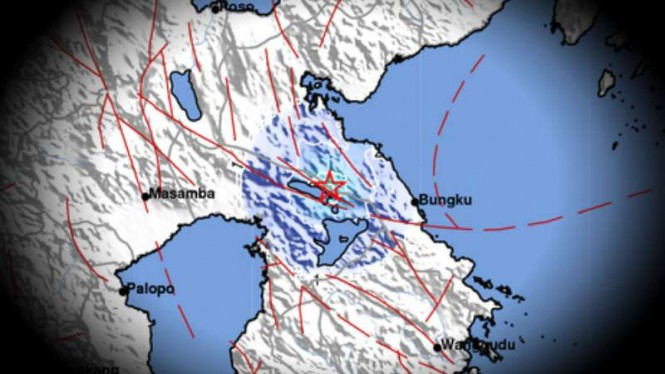 Peta lokasi gempa Sulwesi.