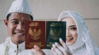 Gelandang Persija Jakarta, Evan Dimas resmi menikahi Zahra Hakim.