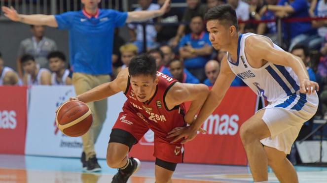 Abraham Damar Grahita saat Timnas Basket Indonesia vs Filipina